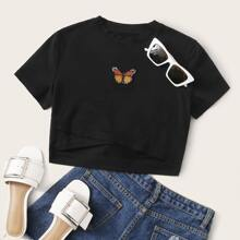 Crop T-Shirt mit Schmetterling Muster