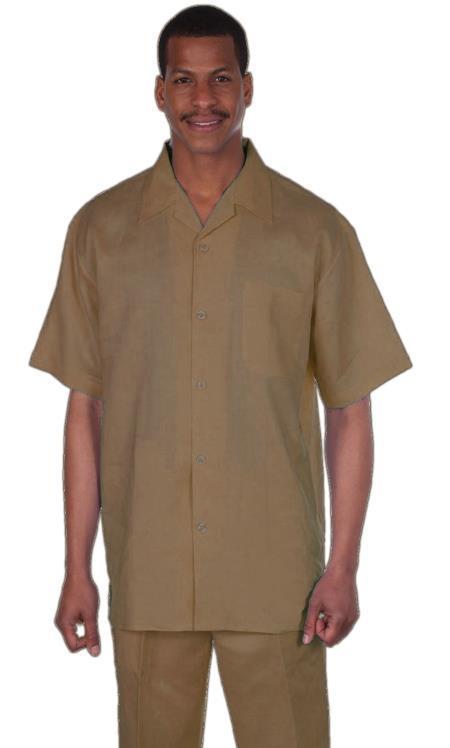 Longstry Mens Suit 1 Linen Fabric Ð Khaki