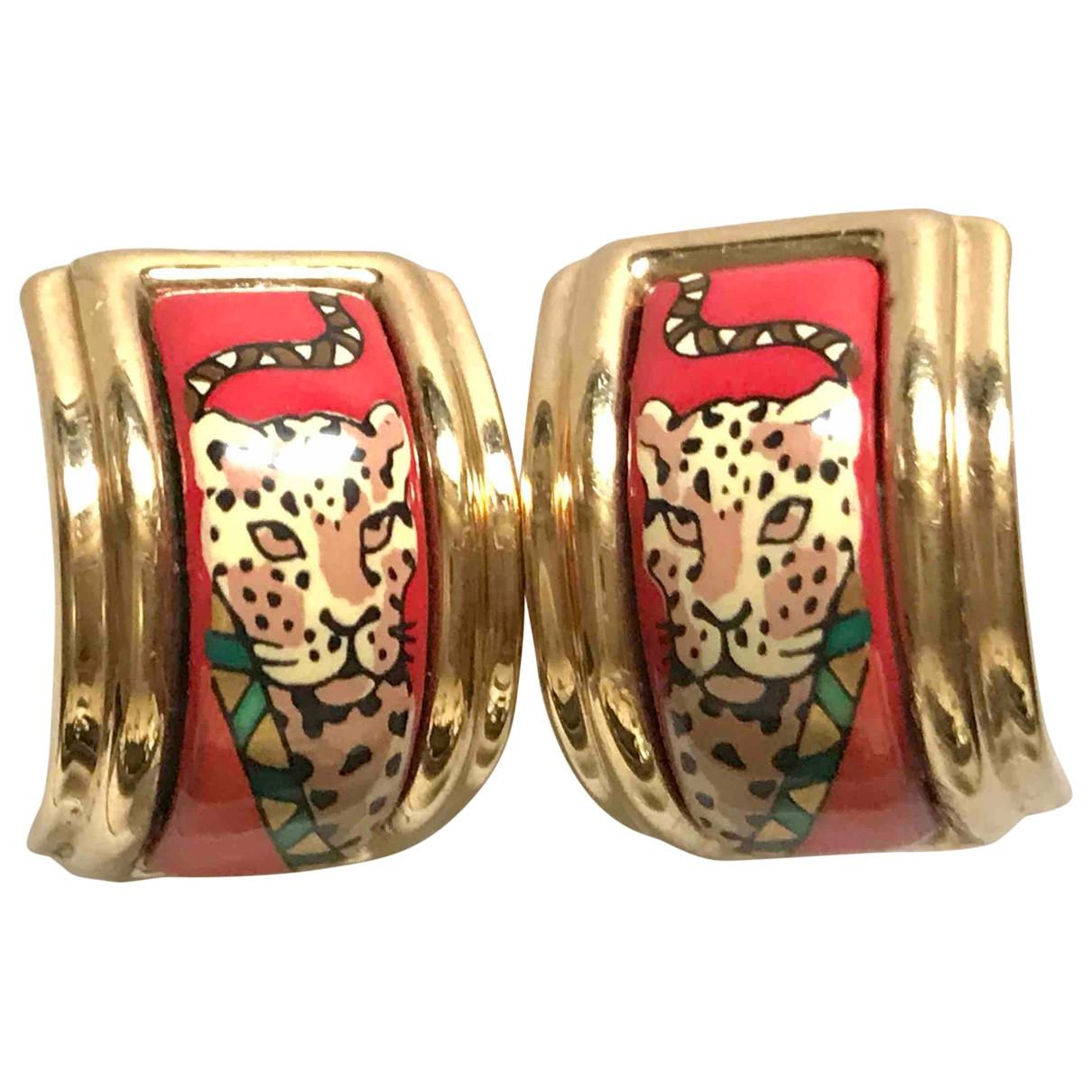 Hermes - Boucles doreilles   pour femme en ceramique - rouge