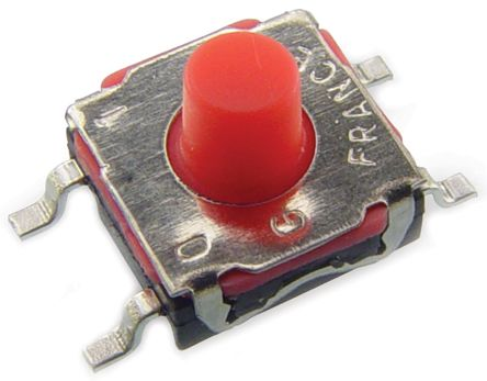 C & K IP67 Red Button Tactile Switch, Single Pole Single Throw (SPST) 50 mA 2.7 (Dia.)mm Surface Mount (1000)