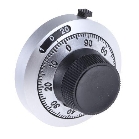 Bourns Potentiometer Knob, Dial Type, 46mm Knob Diameter, Black, 6.35mm Shaft