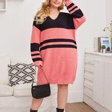 Pulloverkleid mit Farbblock, Riss und Kapuze