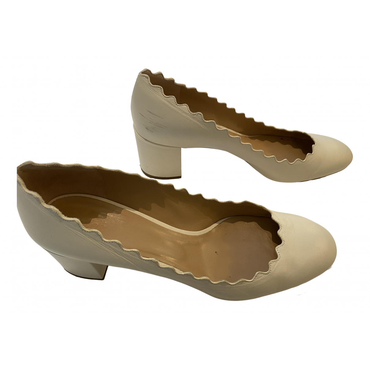 Chloé Lauren White Leather Heels for Women 40.5 EU
