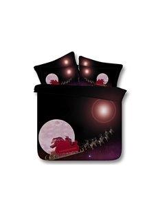 Santa on Sleigh Printed Cotton 3D 4-Piece Bedding Sets/Duvet Covers