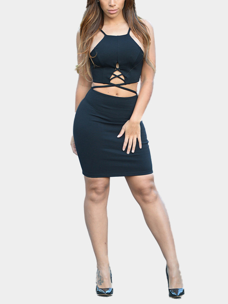 Yoins Strappy Cut Out Bodycon Dress in Black