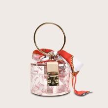 Mini Ring Griff Schal Dekor Clear Satchel Bag