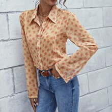 Allover Floral Button Up Blouse