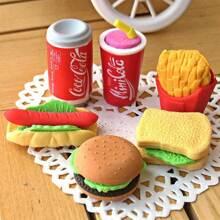 6 Stuecke Hamburger formiger Radiergummi Set