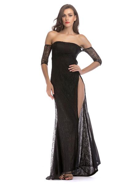 Milanoo Vestido de fiesta de encaje con cuello en V Vestido de fiesta con cuello en V de manga larga