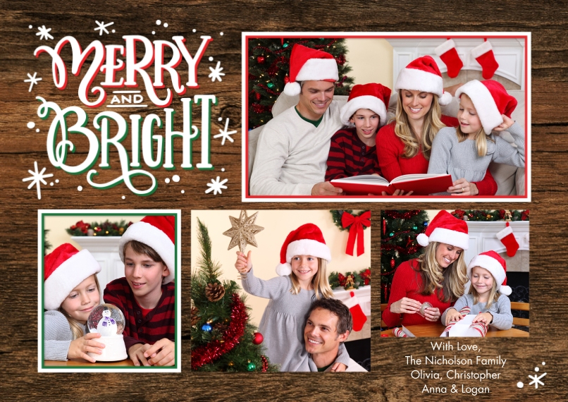 Christmas Photo Cards 5x7 Cards, Premium Cardstock 120lb, Card & Stationery -Christmas Merry & Bright Memories by Tumbalina