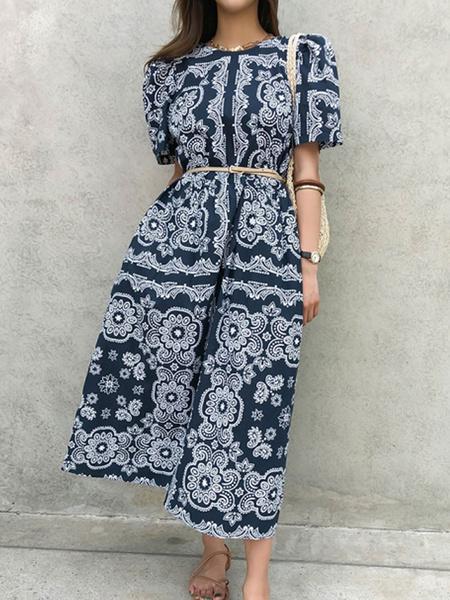 Milanoo Maxi vestidos de manga corta de la marina de guerra oscuro Impreso cuello de la joya de gasa vestido largo