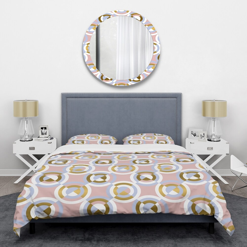 Designart 'Circular geometric shapes pattern' Mid-Century Duvet Cover Set (Twin Cover + 1 sham (comforter not included))