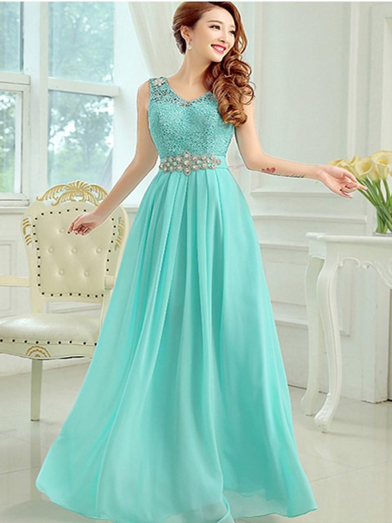 Ericdress Romantic V-Neck A-Line Floor-Length Lace Prom Dress
