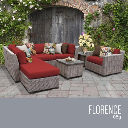 FLORENCE-08g-TERRACOTTA Florence 8 Piece Outdoor Wicker Patio Furniture Set 08g with 2 Covers: Grey and