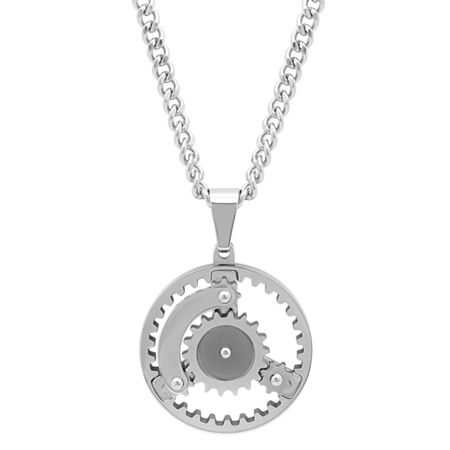 Mens Stainless Steel Gear Pendant Necklace, One Size , No Color Family