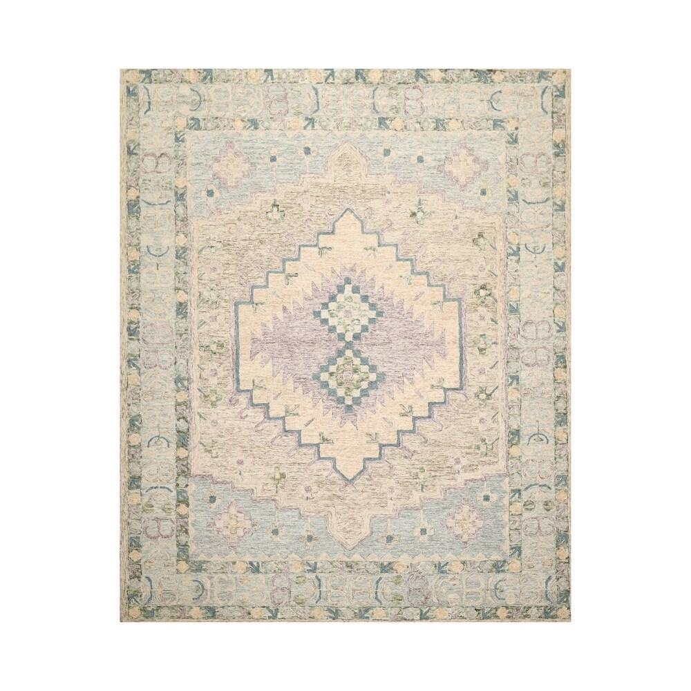 8x10 Hand Tufted 100% Wool Heriz Traditional Oriental Area Rug Beige, Tan Color - 8'  x 10' (Tan/Beige - 8' x 10')