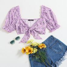 Knot Front Frill Trim Ditsy Floral Crop Top