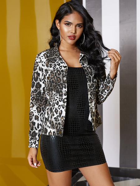 YOINS Grey Button Design Leopard Classic Collar Long Sleeves Jacket