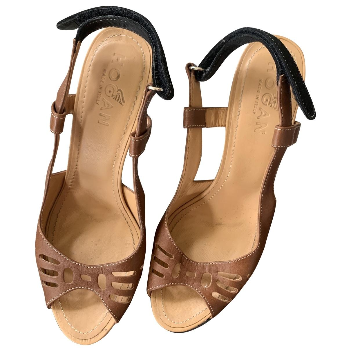 Hogan \N Brown Leather Sandals for Women 36 EU