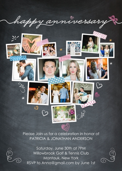 Anniversary Mail-for-Me Premium 5x7 Folded Card , Card & Stationery -Anniversary Heart Snapshots
