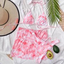 3pack Tie Dye Triangle Halter Bikini Swimsuit & Beach Skirt