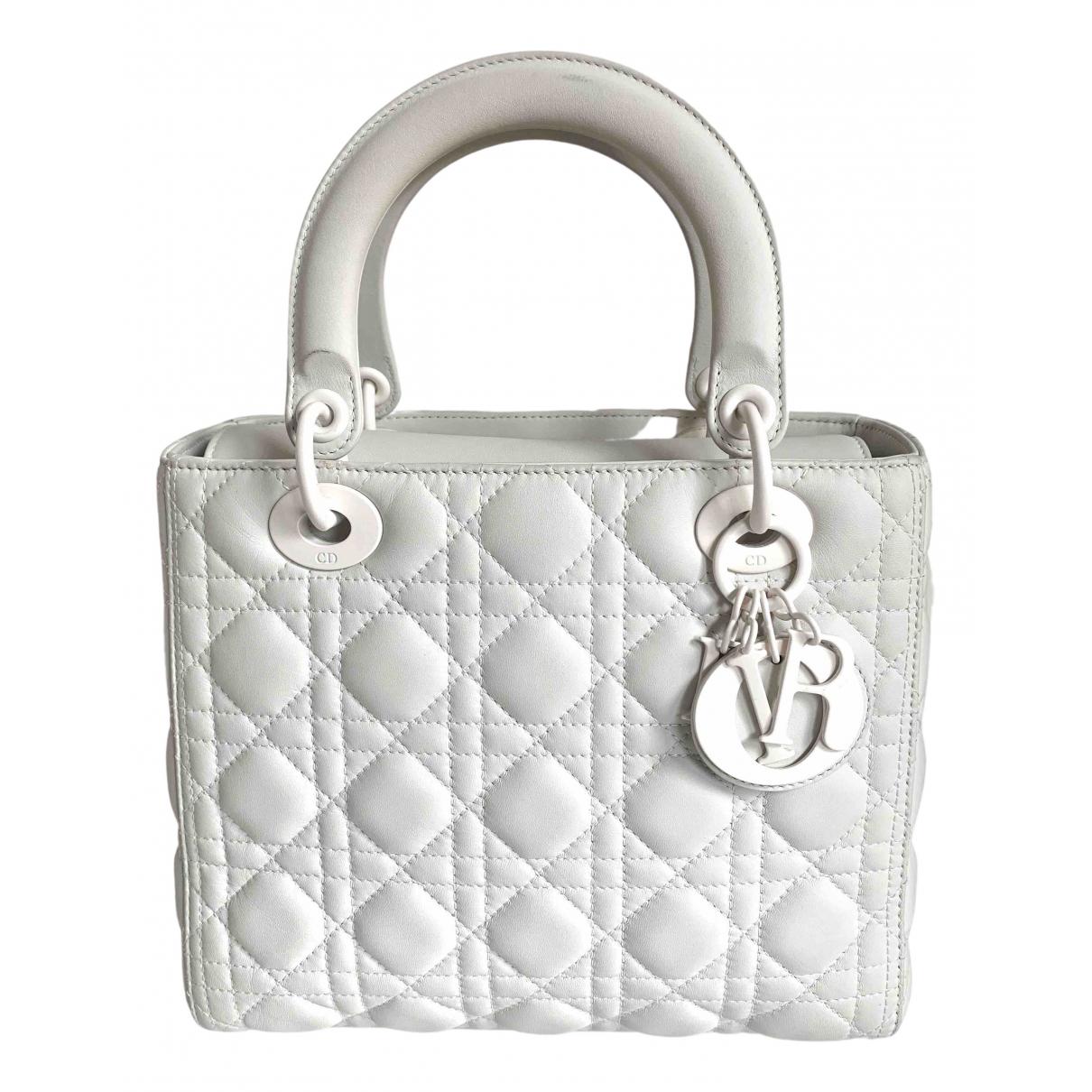 Dior - Sac a main Lady Dior pour femme en cuir - blanc