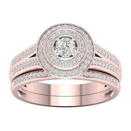 Womens 1/3 CT. T.W. Genuine White Diamond 10K Rose Gold Bridal Set, 6 , No Color Family