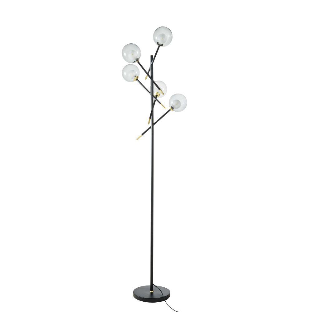 Stehlampe mit 5 Kugelschirmen aus Rauchglas und schwarzem Metallgestell H179