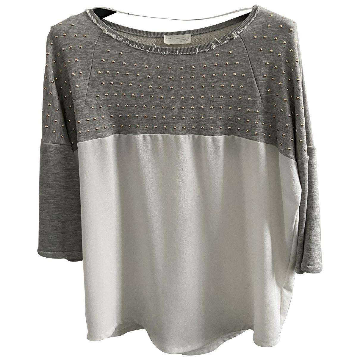 Zara - Pull   pour femme en coton - gris