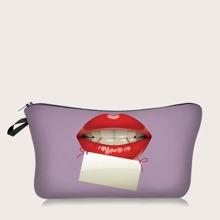 Bolsa de maquillaje con estampado de labio