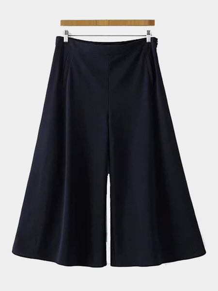 Yoins Navy Pleated Chiffon Wide Leg Trousers with Pockets