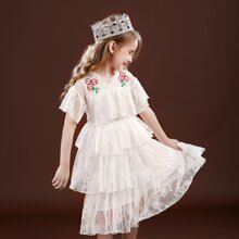 Toddler Girls Lace Appliques Layered Party Dress