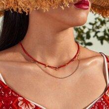 1pc Star Tassel Layered Necklace