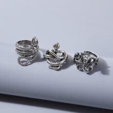 3 piezas anillo de hombres con serpiente