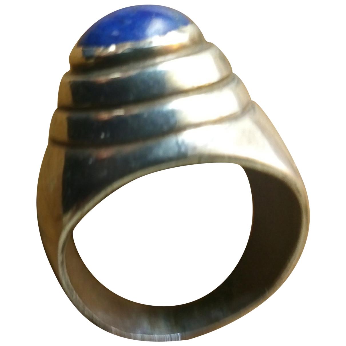 Non Signe / Unsigned Lapis lazuli Ring in  Blau Silber