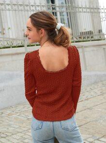 Camiseta tejida de cable de manga farol de espalda baja ribete con encaje