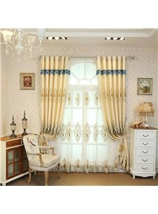 Delicate Beige Embroidered Floral Sheer Curtains For Living Room and Bedroom