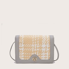 Color Block Woven Crossbody Bag