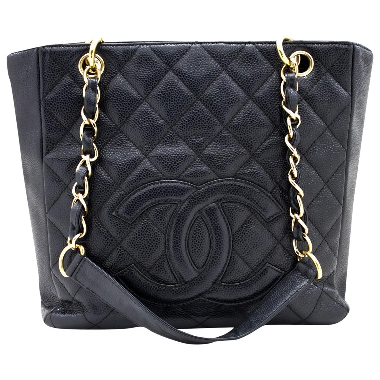 Chanel Petite Shopping Tote Handtasche in  Schwarz Leder