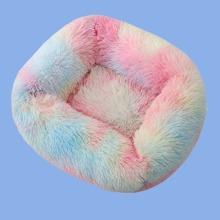 1pc Colorblock Plush Dog Bed