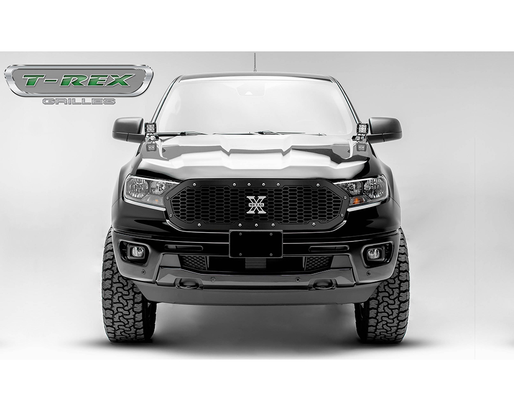 T-Rex Laser X Grille, Chrome Studs, 1 Pc, Replacement Ford Ranger 2019-2021