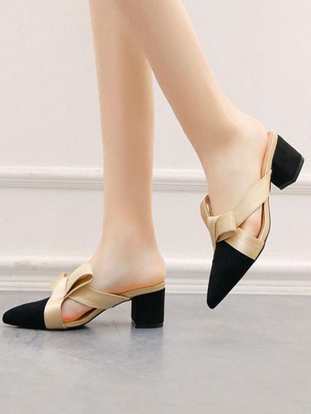 Milanoo Zapatos sin cordones con tacon en bloque y tacon en punta para mujer