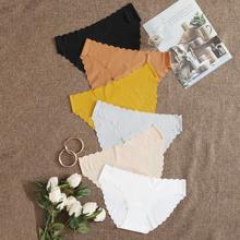 6 Packe geripptes nahtloses Hoschen Set mit Bogenkante