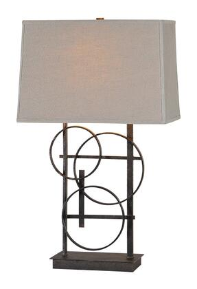 Aria Collection LPT445 Table Lamp with 1 Bulb  Antique Bronze Finish Metal Base and Beige Linen