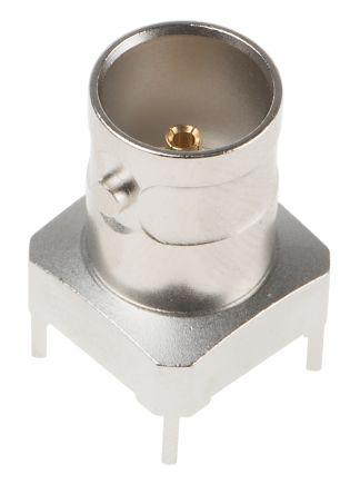 Telegartner Straight 75Ω PCB Mount BNC Connector, jack, Nickel, Through Hole Termination