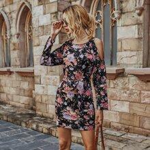 Floral Print Cold Shoulder Belted Dress