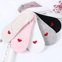 5 Paare Maedchen Unsichtbare Socken mit Herzen Muster