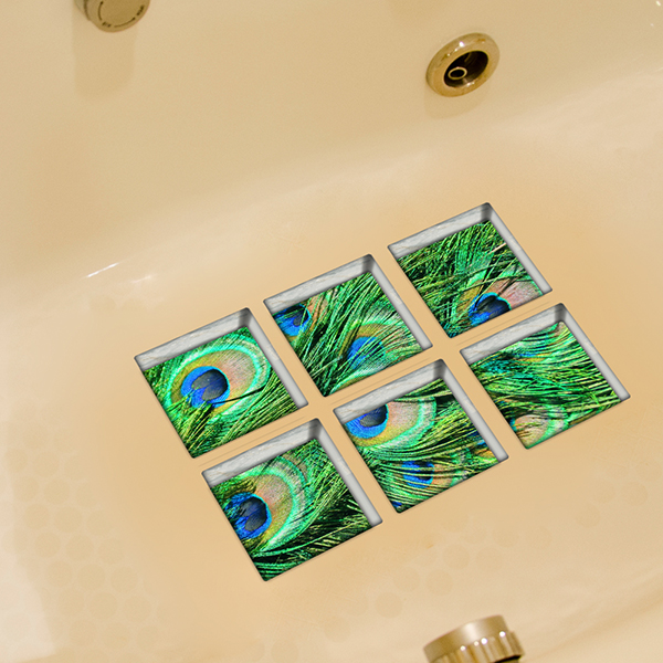 Peacock Pattern 3D Bathtub Stickers