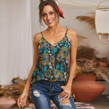 Tribal Print Button Front Cami Top