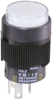 NKK Switches Single Pole Double Throw (SPDT) Momentary Blue LED Push Button Switch, IP65, 16 (Dia.)mm, Panel Mount